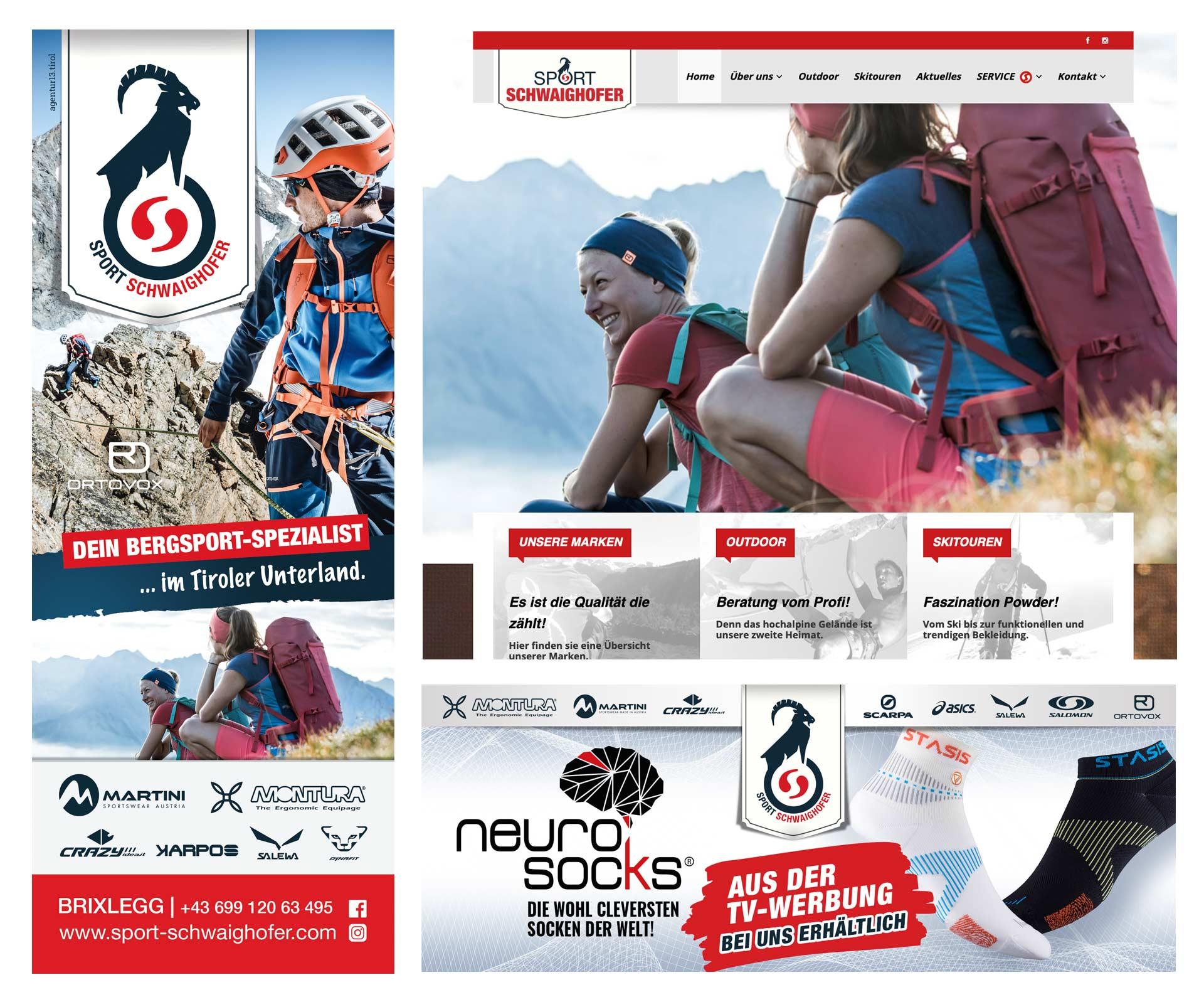 Werbeagentur - agentur 13 Tirol, Sport Schwaighofer, Grafikdesign, Webdesign